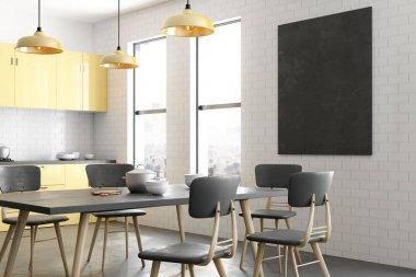 Contemporary kitchen interior with empty billboard