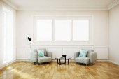 Fotografie Bright white living-room with poster