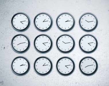 Time zones concept. Many clock on wall. Close Up. 3D rendering stock vector