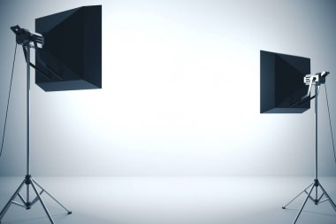 Empty wall illuminated with two professional lighting equipment. Mock up, 3D Rendering stock vector