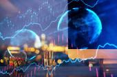 Pénzügyi grafikon színes rajz és táblázat számítógép a háttérben. Dupla expozíció. A nemzetközi piacok fogalma.