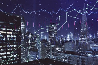 Financial graph on night city scape with tall buildings background multi exposure. Analysis concept. stock vector