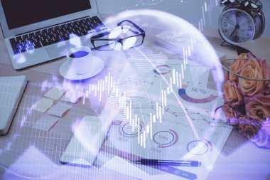 Forex market chart hologram and personal computer background. Multi exposure. Concept of investment. stock vector