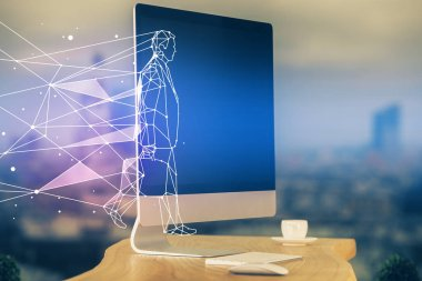 Desktop computer background in office and start up theme hologram drawing. Double exposure. Startup concept.