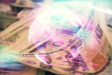 Double exposure of tech theme drawing over usa dollars bill background. Concept of technology.