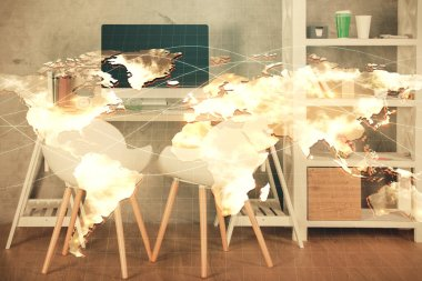 Double exposure of business theme drawing and office interior background. Concept of success