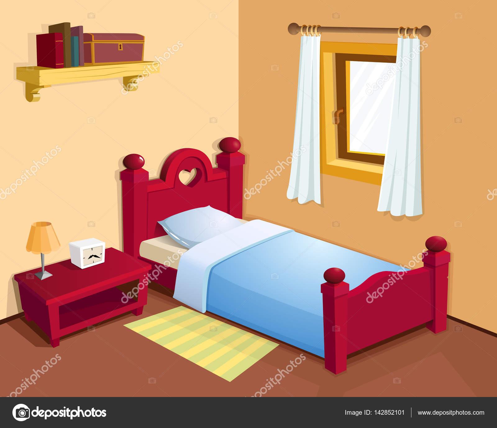 Dormitorio Dibujo ~ interior de dormitorio de dibujos animados u2014 Vector de stock u00a9 Vecturion #142852101