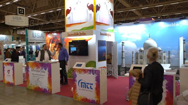 Visitors at the Indian Pavilion at the large international fair of travel agencies