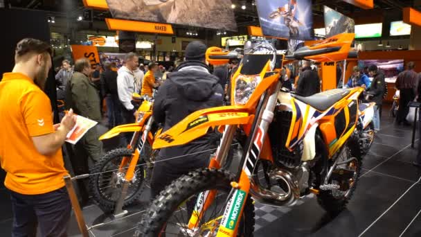 Powerful sports enduro motorcycle. A big fair of bikes.
