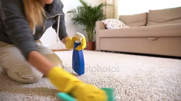 Hausfrau reinigt Teppich mit Spezialwaschmittel.