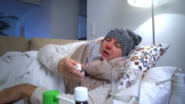 Man With Runny Nose Are Using Nasal Spray And Sneezing Loudly.