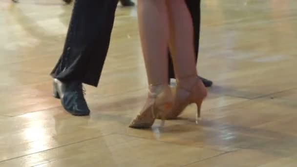 Couples dancing in ballroom. Slow Motion