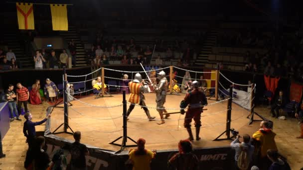 Two Medieval Knight Fighting In The Arena Two-Handed Swords.