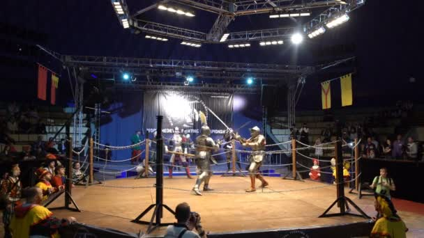 Two Medieval Knight Fighting In An Arena With Swords And Shields. Slow Motion.