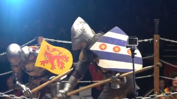 Two Medieval Knight Fighting In The Arena With Spears. Slow Motion.