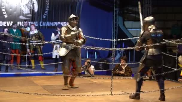 Two Medieval Knight Fighting In The Arena Two Handed Swords Stock