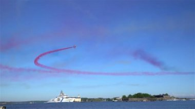The performance of the Aerobatic Team The Red Arrows during THE AIR SHOW.