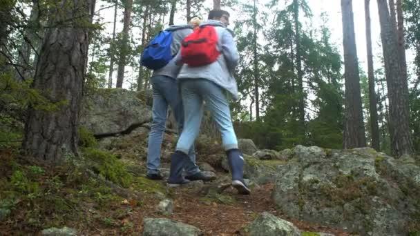 Idős aktív pár mászni a rock, az északi erdő.