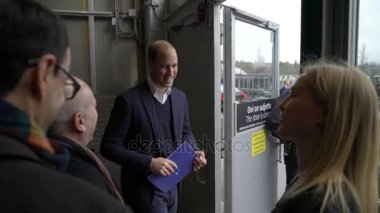 Prince William, Duke of Cambridge, exits the Messukeskus Expo center after visiting the tech and startup event Slush during his trip to Finland