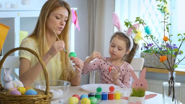 Happy Easter Mother and her little daughter coloring easter eggs
