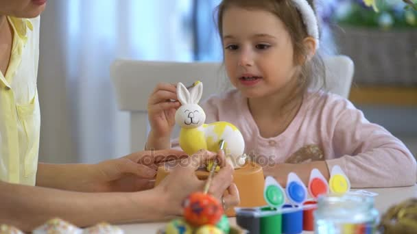 Boldog húsvéti anya és lánya a festészet húsvéti nyuszi nyuszi füle