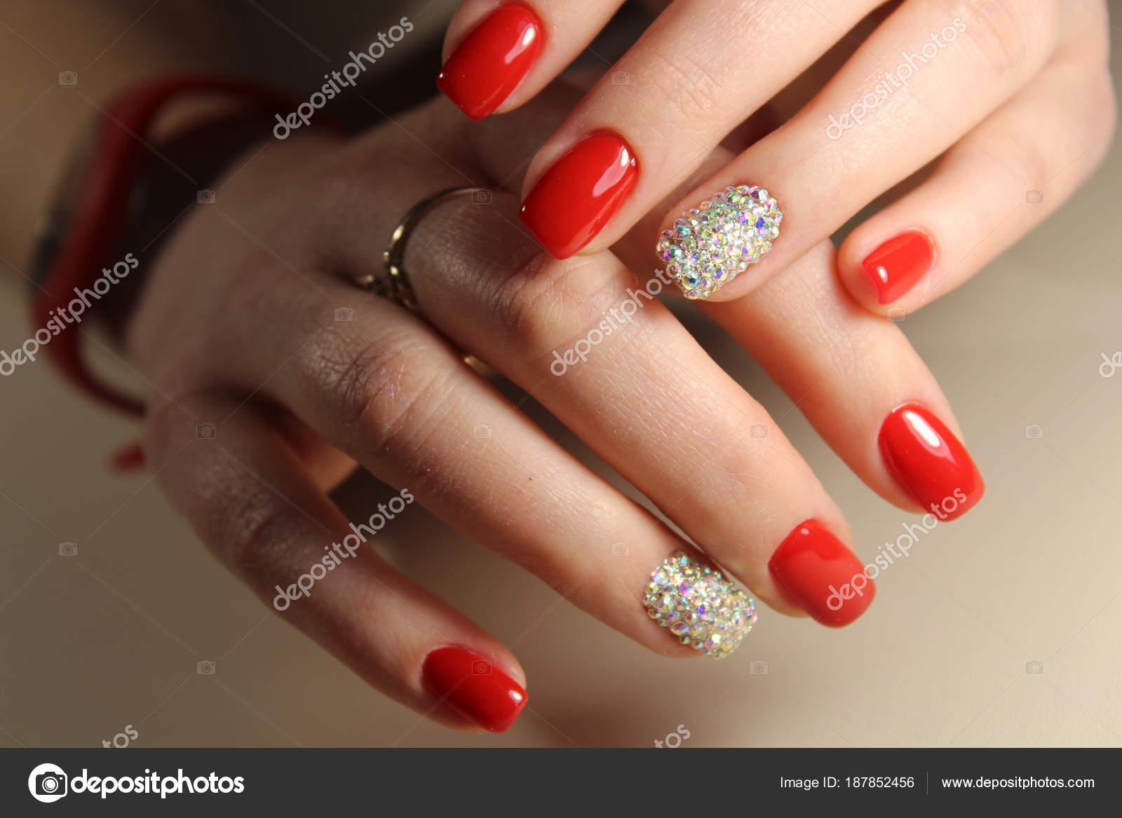 Red Nails With Rhinestones Stock Photo Smirmaxstock
