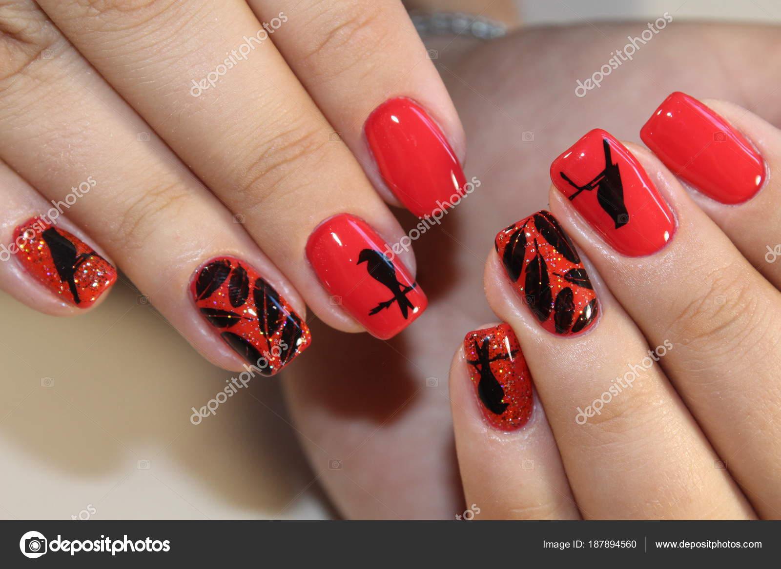 Lovely Fingernägel Design Bilder Decoration Of Maniküre Rote Nägel — Stockfoto