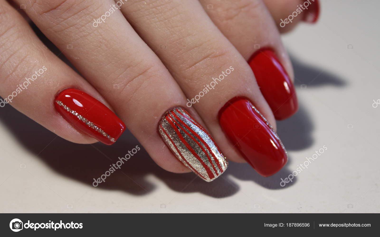 Nail designs red colors — Stock Photo © SmirMaxStock #187896596