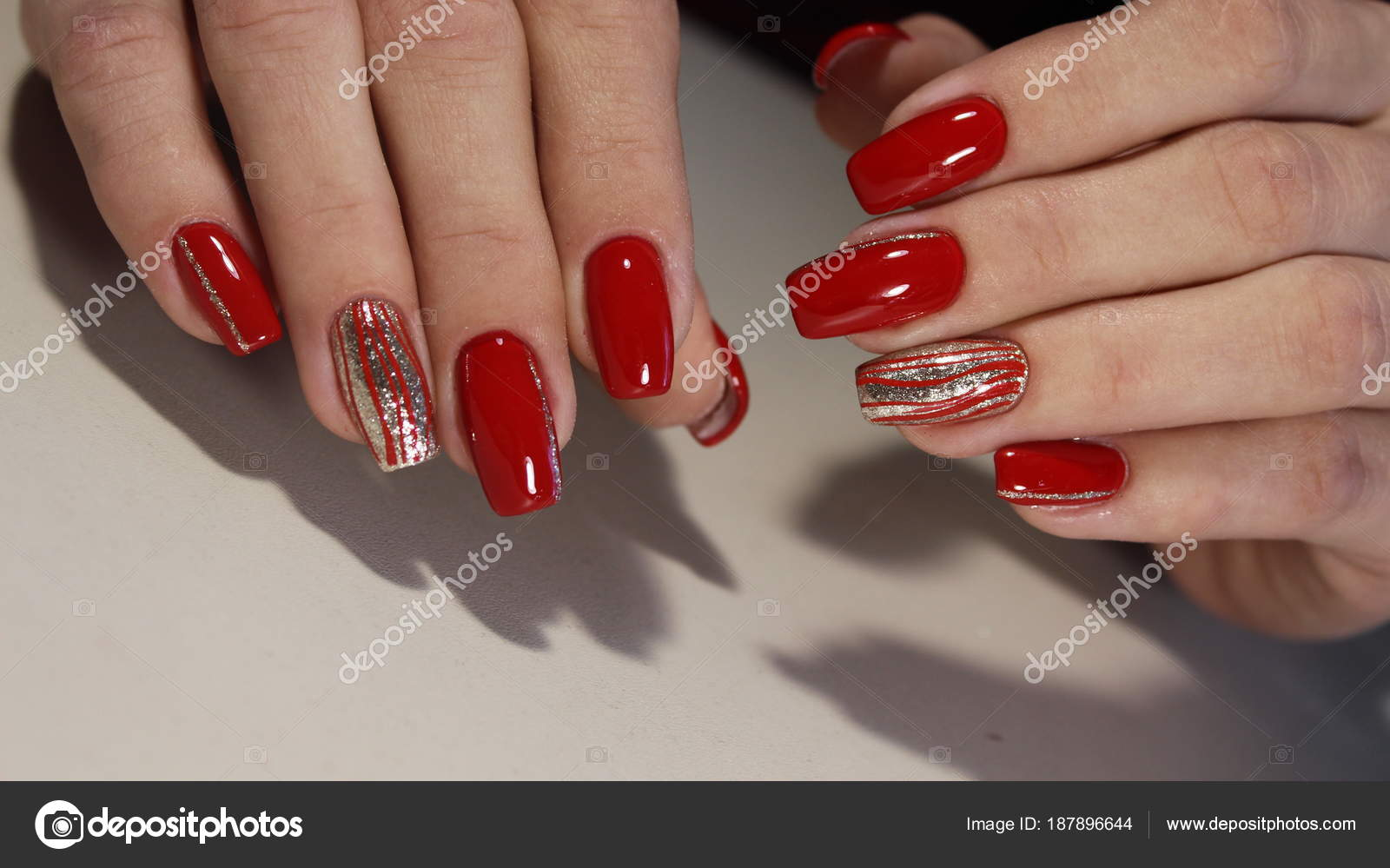Nail Designs Red Colors Stock Photo C Smirmaxstock 187896644