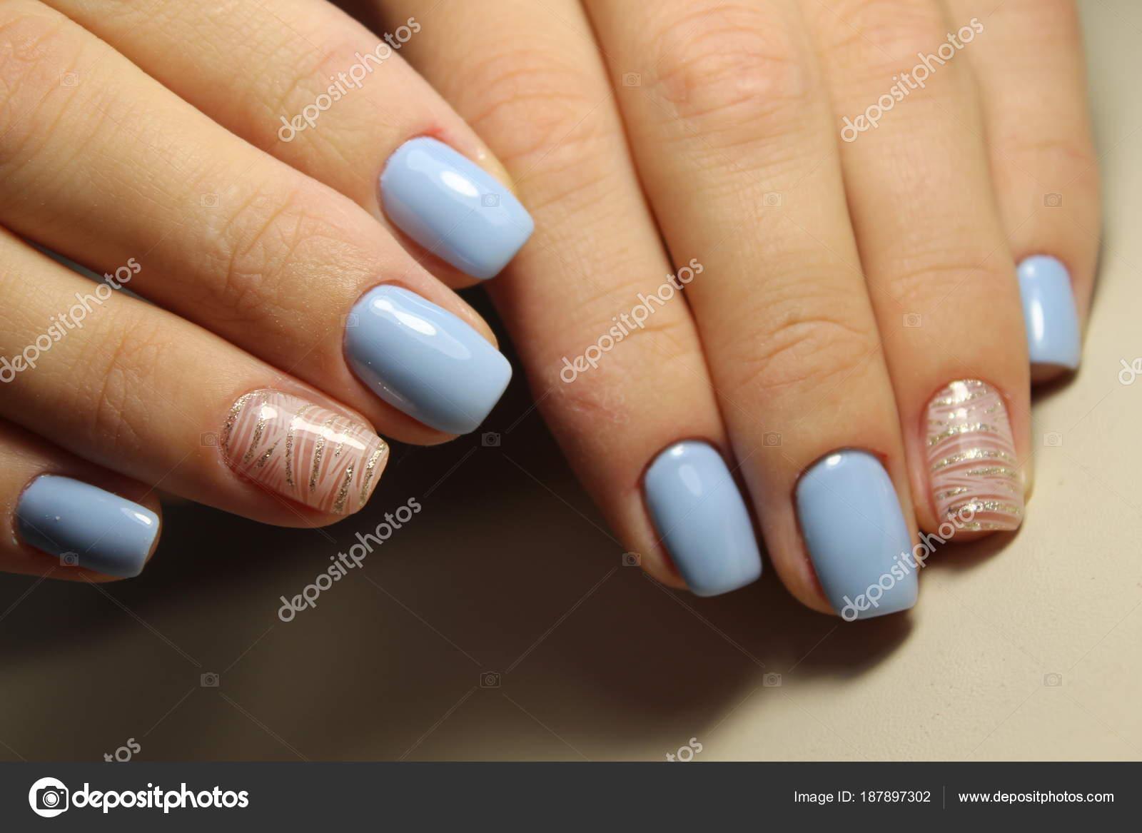 Manicure design lines, blue nails — Stock Photo © SmirMaxStock ...