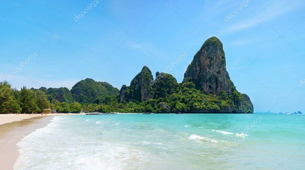 Beautiful tropical beach. Railay Beach in Krabi province, Thaila