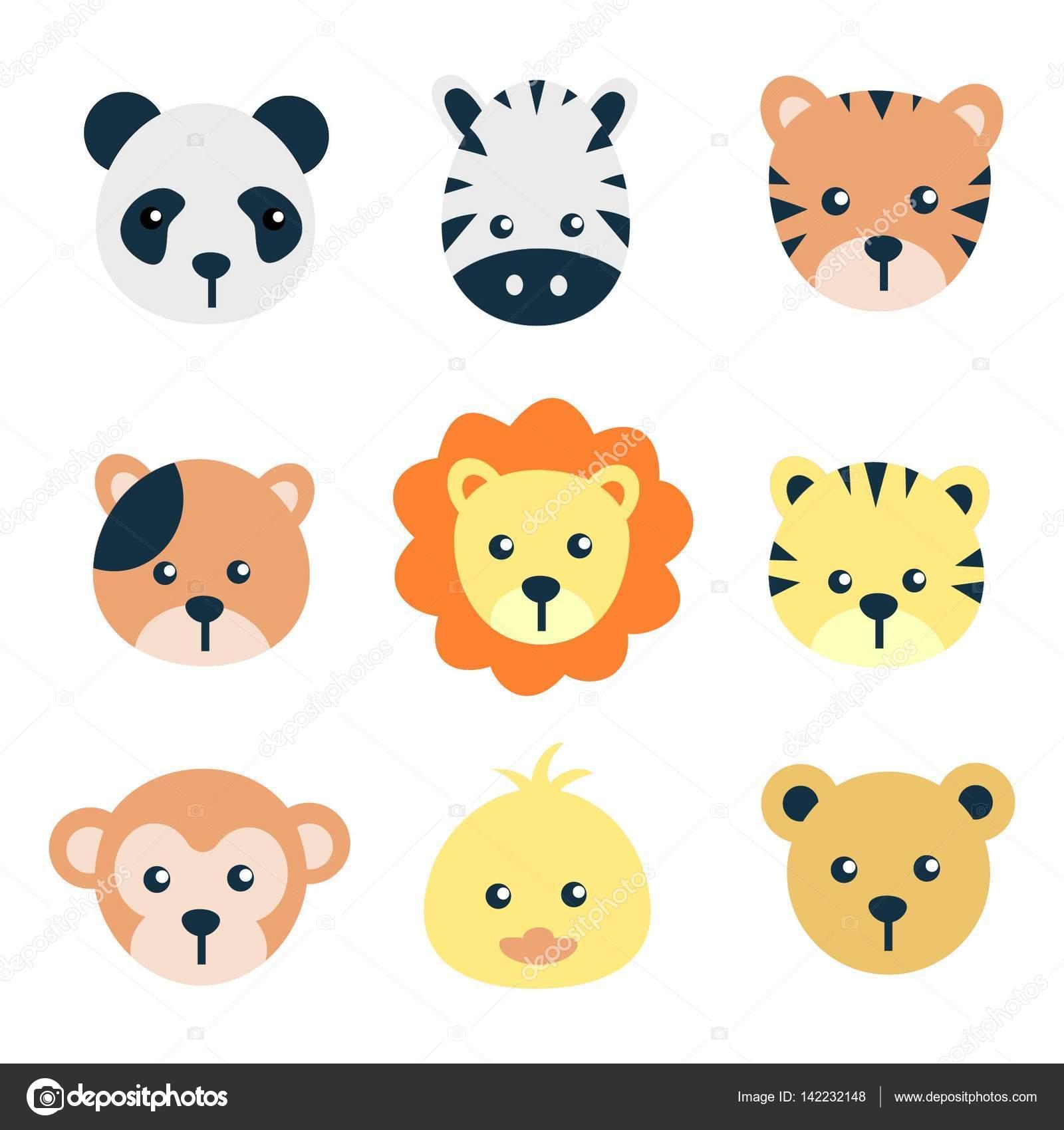 Conjunto De Rosto Animais Dos Desenhos Animados, Desenho