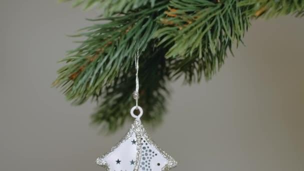Vánoční ozdoba stromku s jehličnany zavěšenými na větvi jehličnanů. 4K rozlišení pohyb podstavce fotoaparátu.