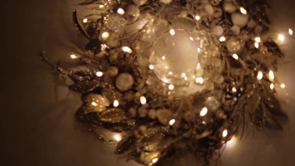 shora pohled video jiskřivé skleněné dekorace s vánoční světla