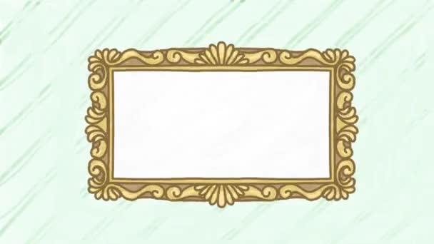 Kézzel rajzolt animációs tükör antik keretben, helyet adva az Ön szövegének vagy dizájnjának. Zökkenőmentes hurok.