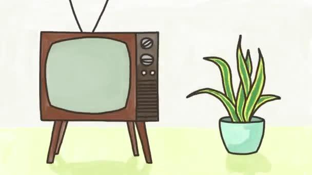 Retro TV, hand drawn seamless loop animation still life.