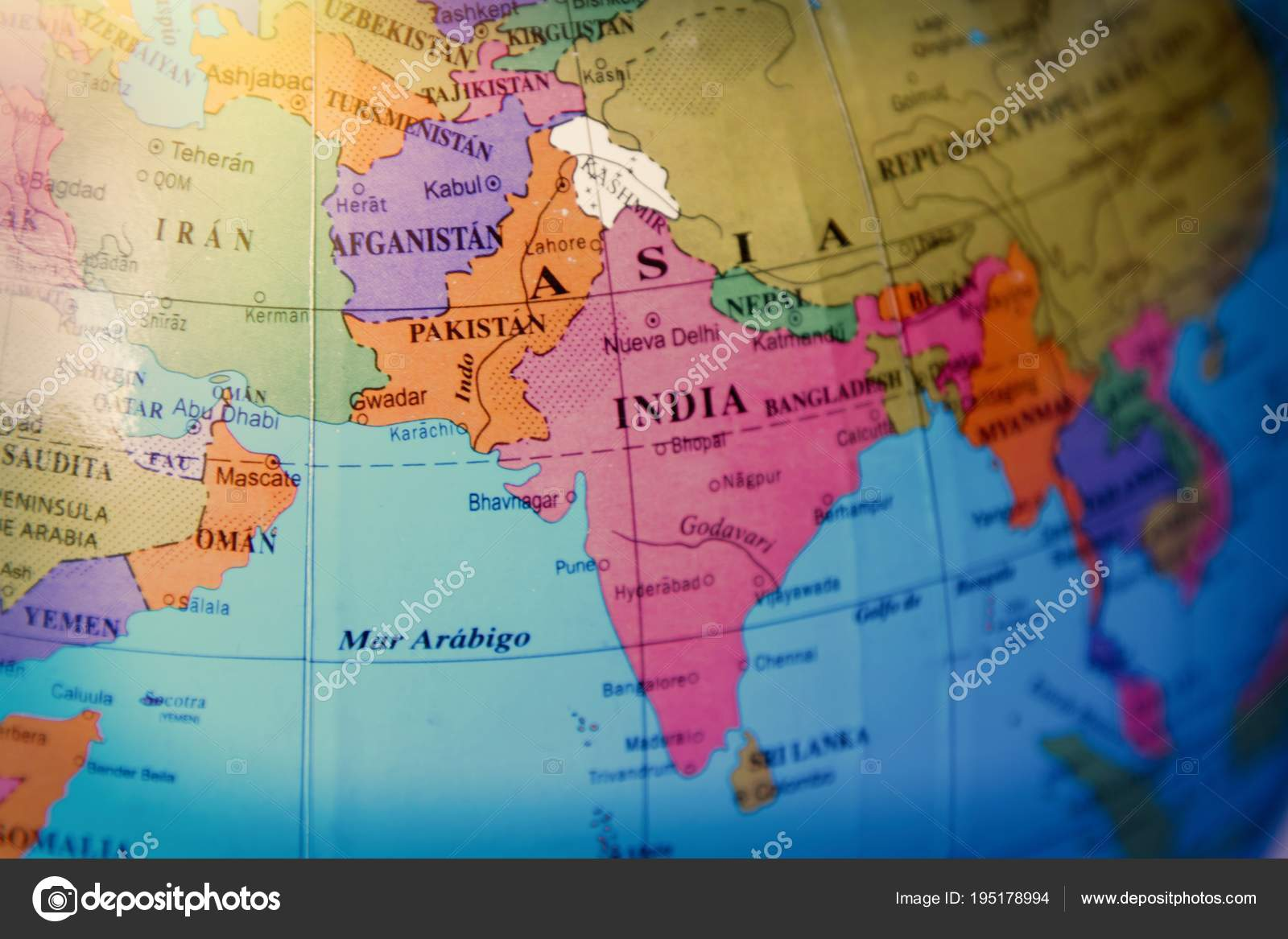 Map Of Asia India.Detail World Map Asia India Stock Photo C Carballo 195178994