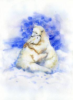 Watercolor painting of Hugging Polar Bears