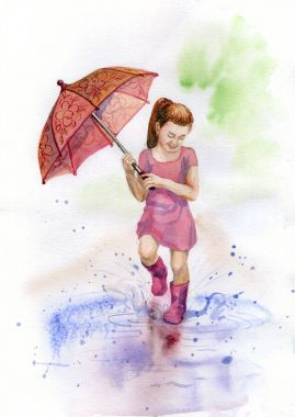 Watercolor picture of the girl walking on the puddle (spring fun)