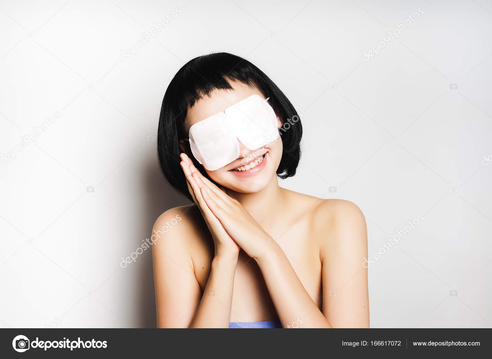 Young Asian Teen Woman Wear Sleeping Mask For Beauty Skin Careisolated Stock Photo