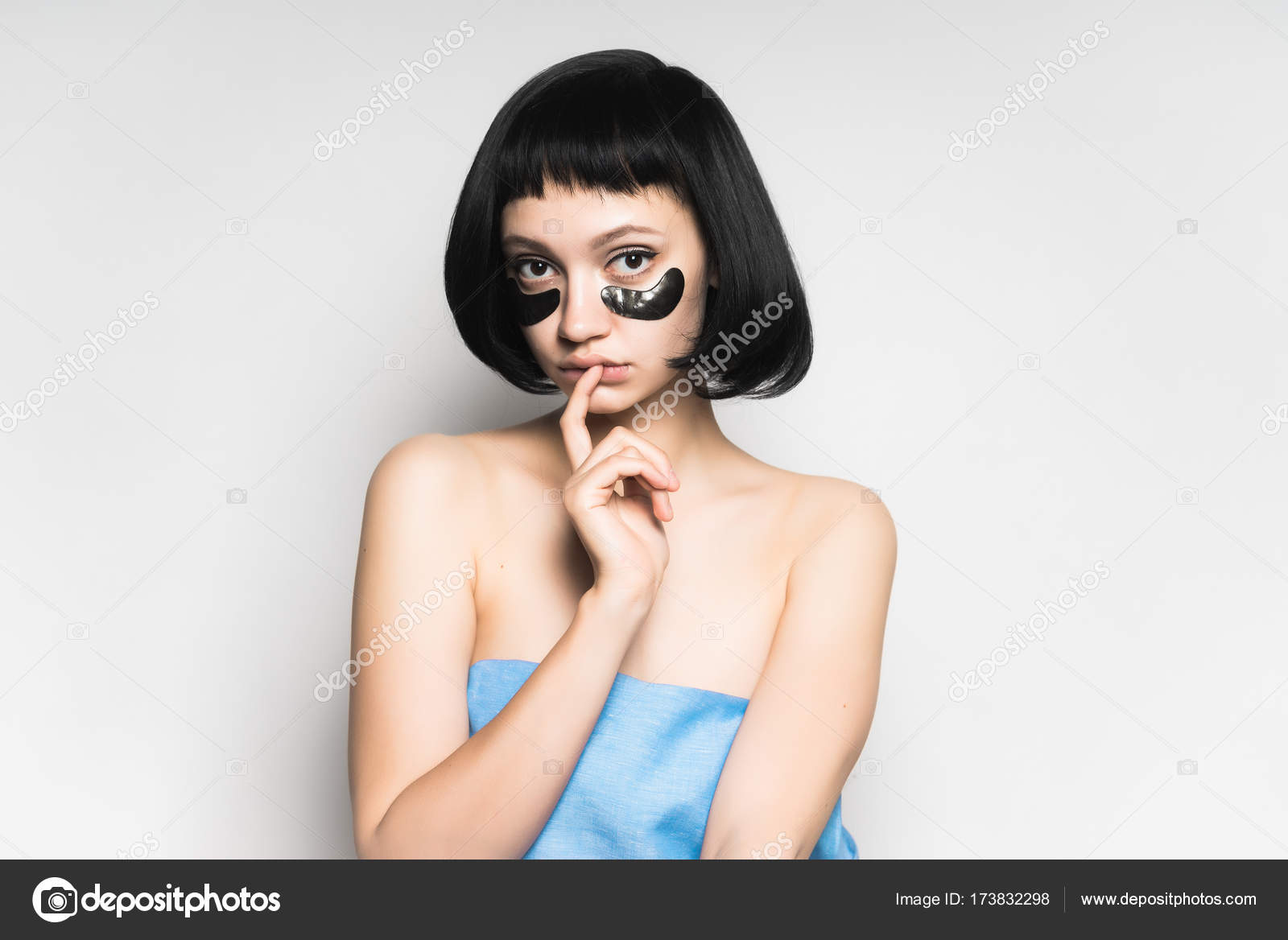 Girl With Short Black Hair With Patches On Face Sexy Looking At