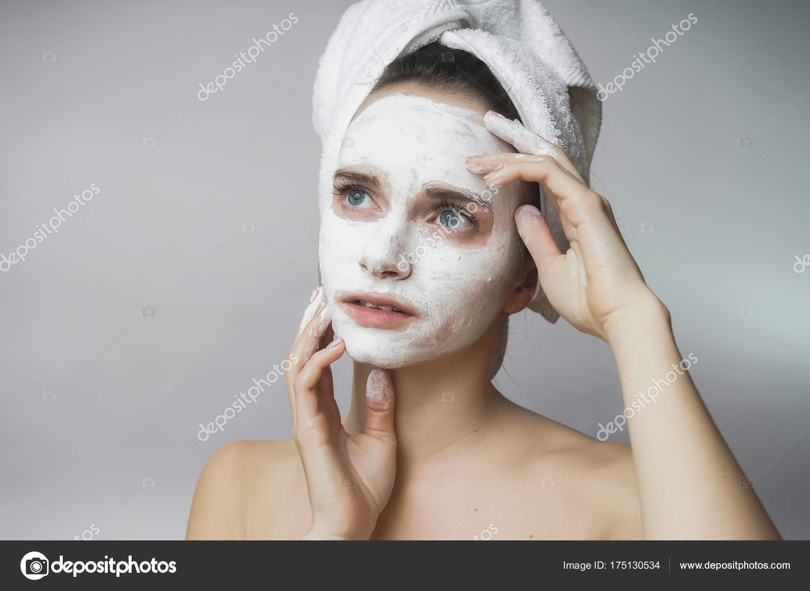 Beauty teen,woman like white skin care mask on face– stock image