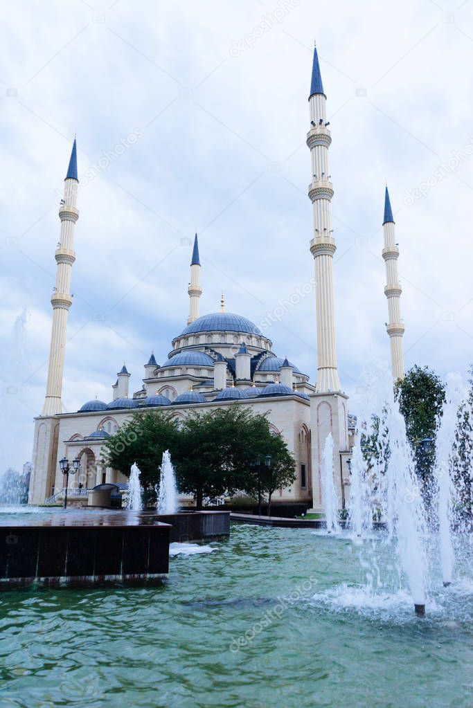 beautiful ancient mosque in Chechnya, many fountains