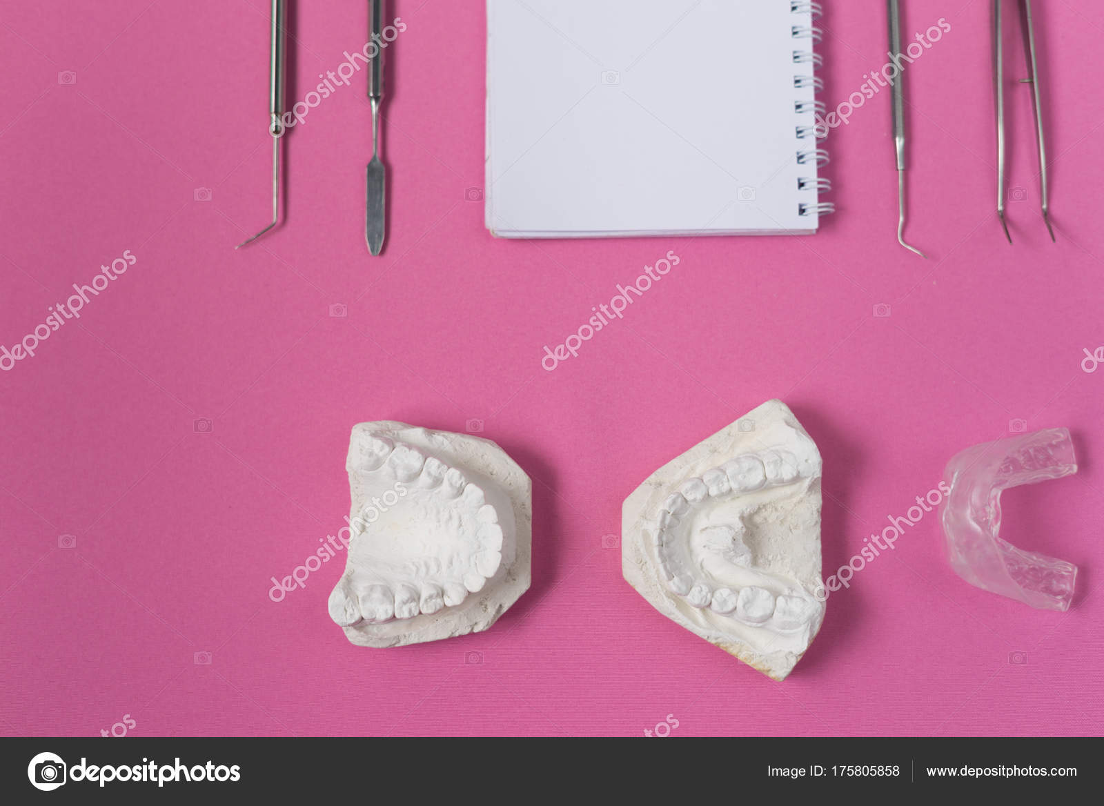 on the pink surface lie a plaster cast of teeth, a notebook and
