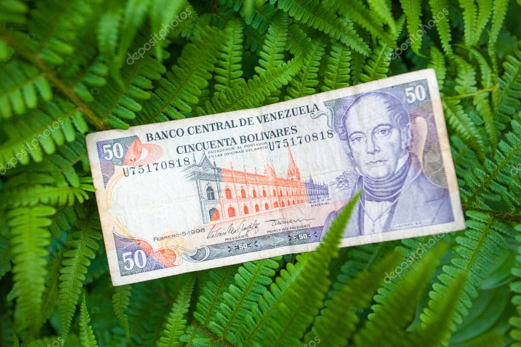 50 Venezuelan bolivares bank note on the leaves