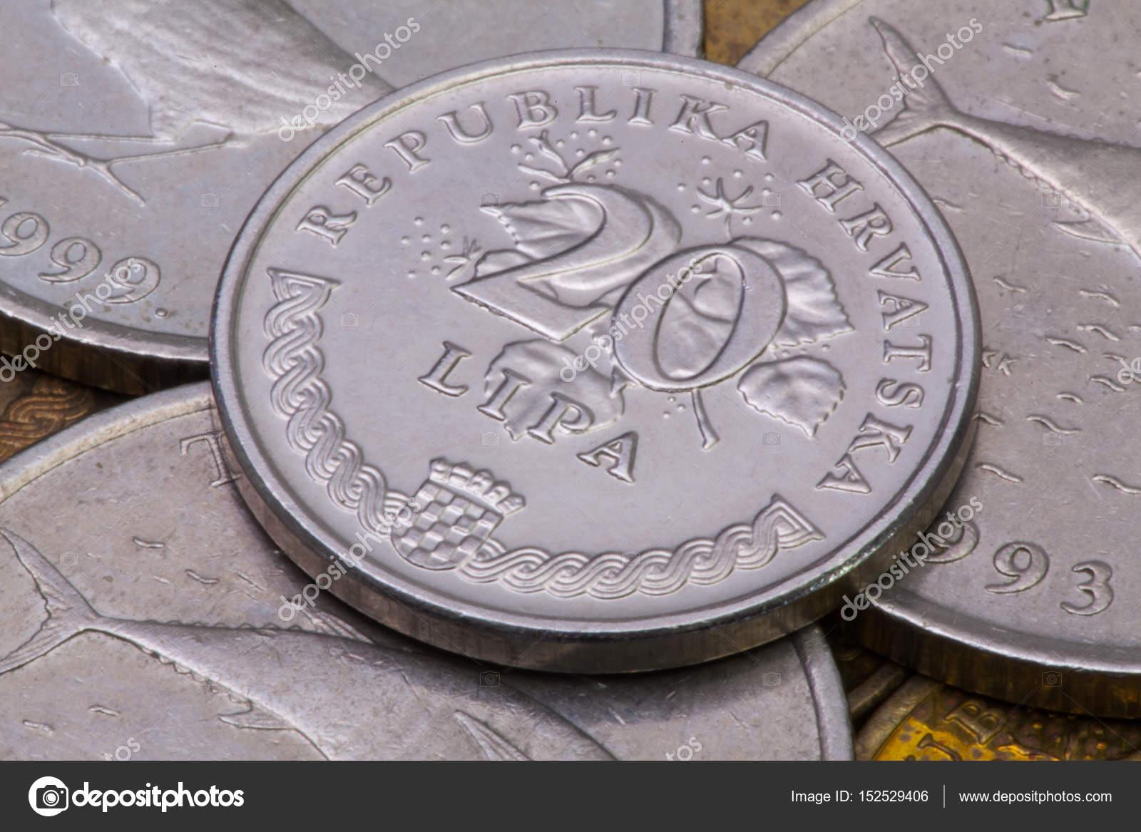 Detail Der Verschiedenen Münzen Aus Kroatien Stockfoto