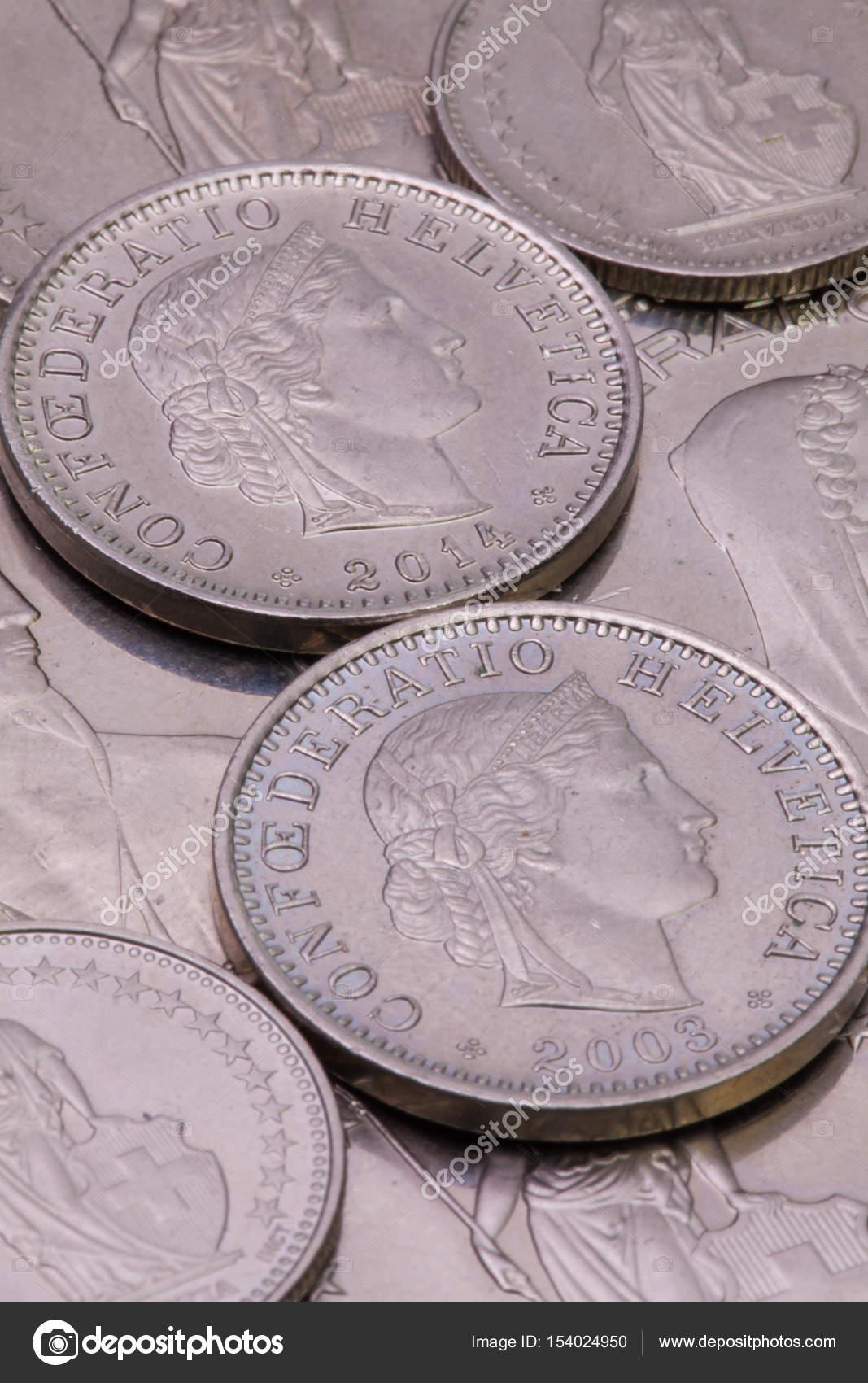 Detail Der Verschiedenen Schweizer Franken Münzen Stockfoto