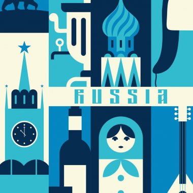 russia retro travel banner,