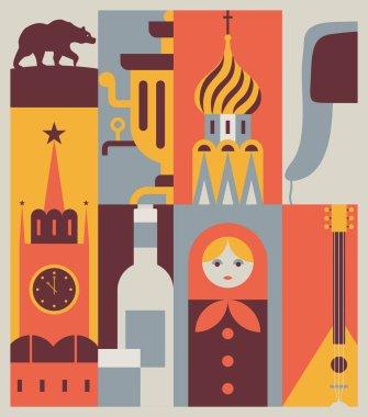 russia retro travel banner,
