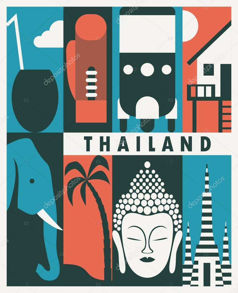 thailand travel retro banner